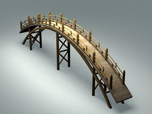 Wooden Garden bridge 3d model