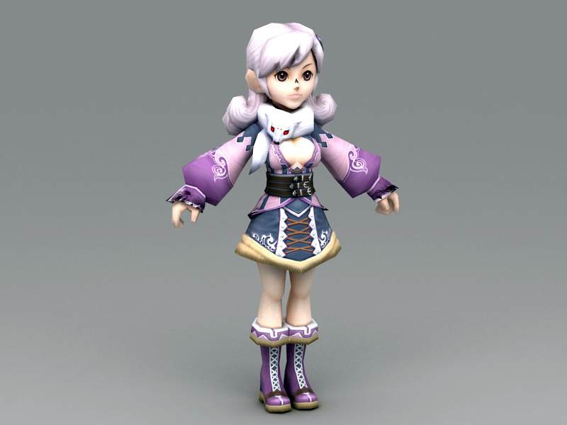 Pretty Anime Lady 3D model