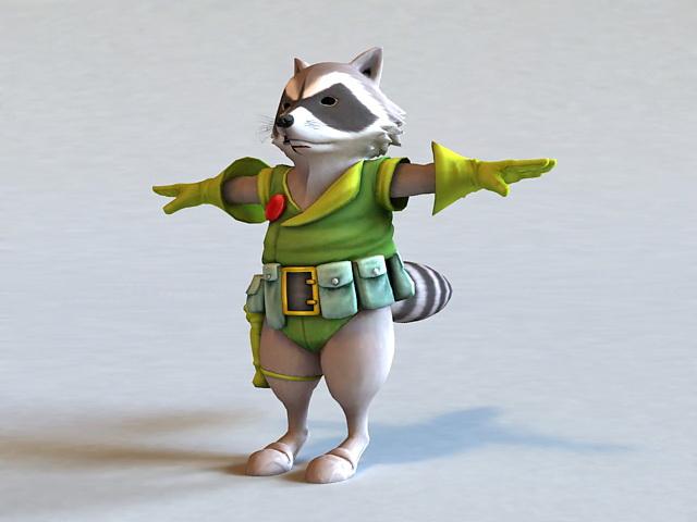 Raccoon Warrior 3D model