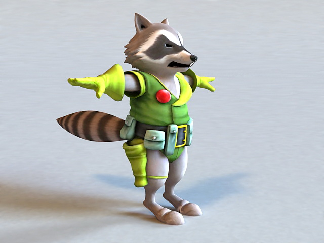 Raccoon Warrior 3D model
