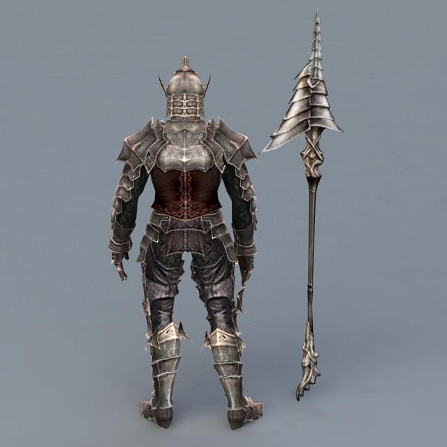 Warrior Armor with Spear 3D model