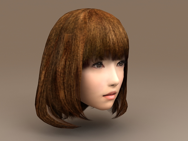 Asian Girl Head 3D model