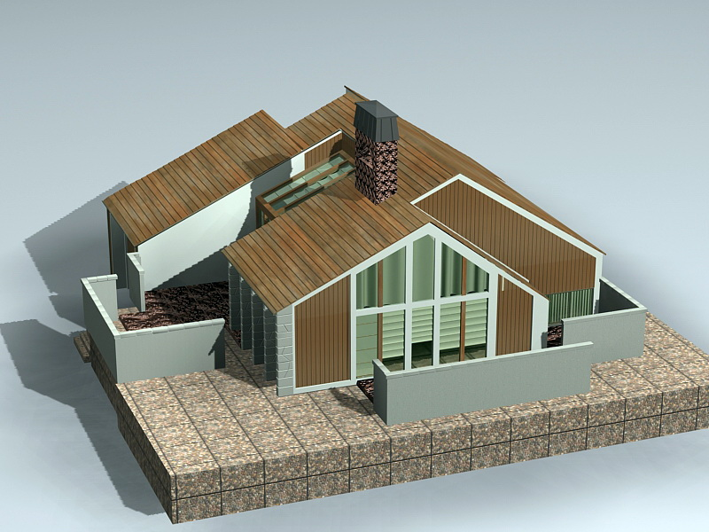 Modern Rustic House 3D model