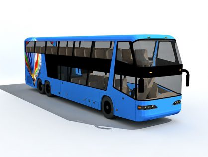 Blue double decker bus 3D model