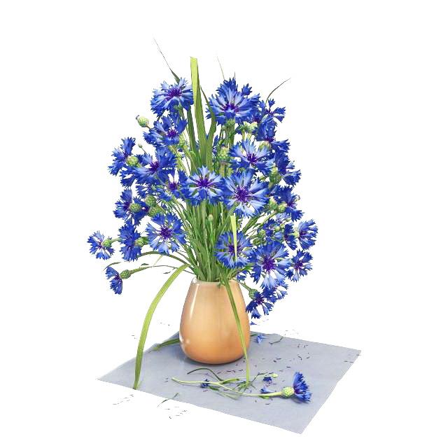 Blue flowers in vase 3D mode