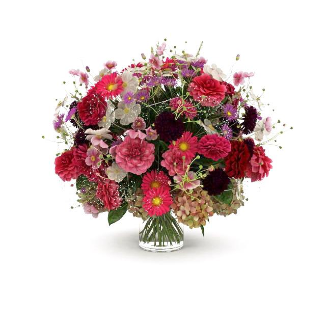 Bouquet of flowers in glass vase 3D model