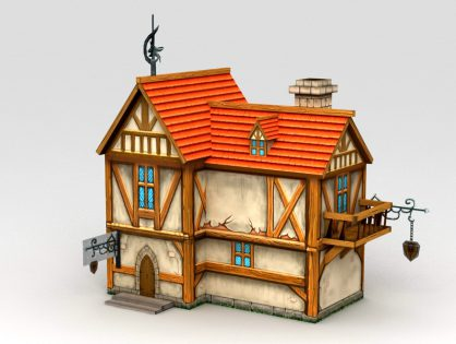 Cartoon Medieval City House 3D model