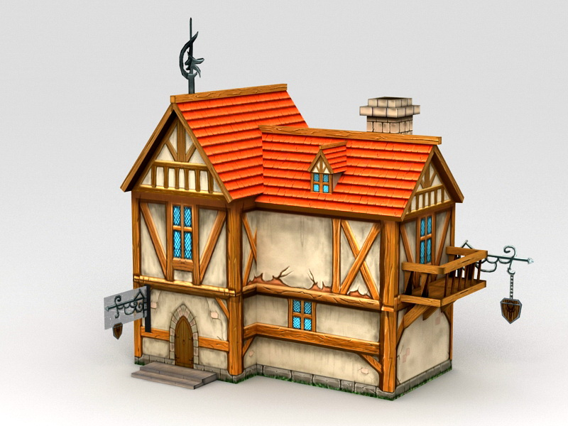 Cartoon Medieval City House 3D model