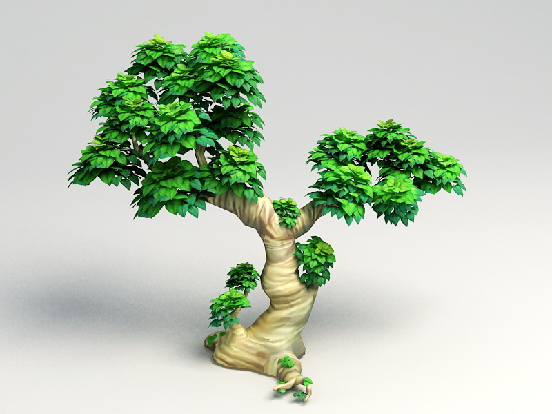 Cartoon Tree 3d Model Download For Free Collection set of various green cartoon tree on white background. free 3d models
