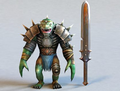 Cartoon Troll Warrior 3D model
