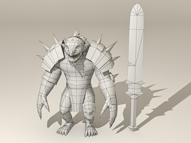 Cartoon Troll Warrior  3D model
