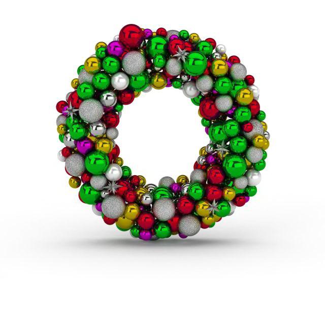 Christmas ball wreath 3D model