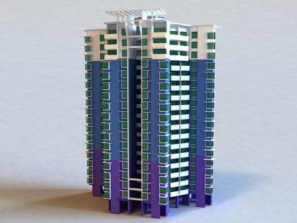 City apartament building 3D model