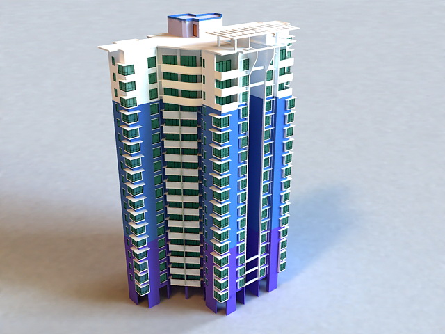 City apartment building 3D model Download for Free