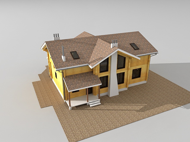 Country wooden house 3D model