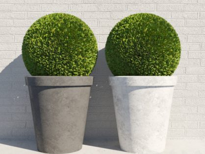 Decorative bush in a pot 3D model