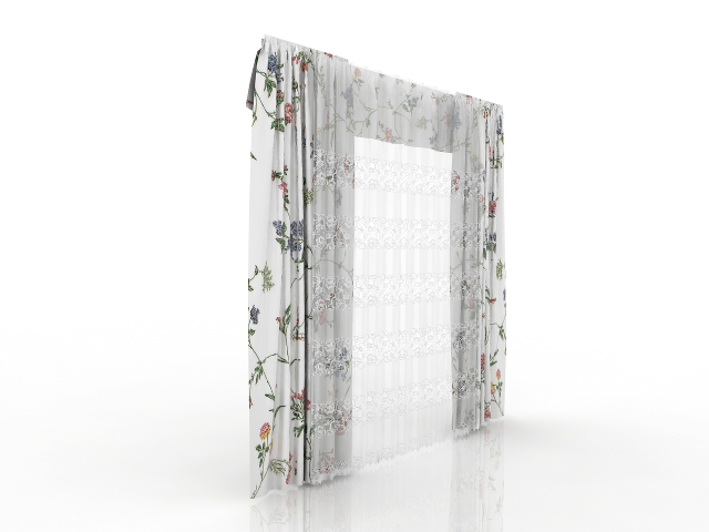 Flower Curtains 3D model