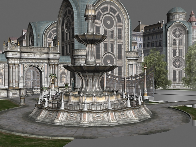 Gothic city building scene 3D model Download for Free