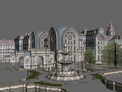 Gothic city building scene