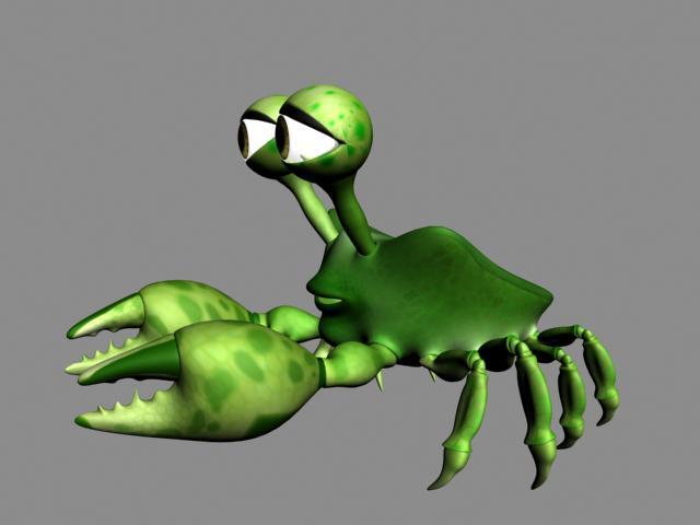 Green Cartoon Crab 3D model