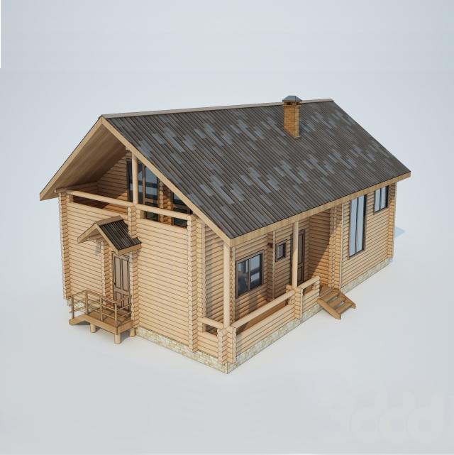 Log house 3D model