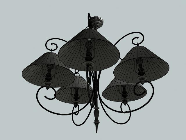 Modern simple chandelier 3D model
