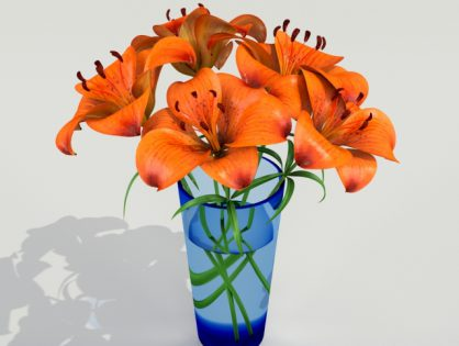 Orange Tiger Lilies in a Vase