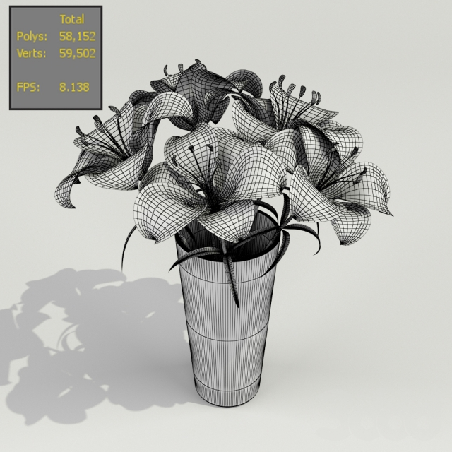Orange Tiger Lilies in a Vase 3D model