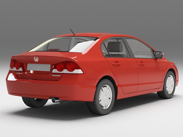 Red Honda Civic 3D model