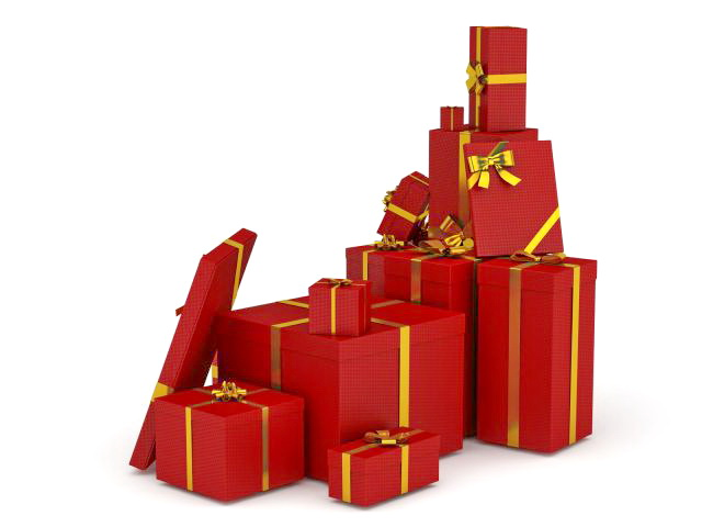 Red gift boxes 3D model