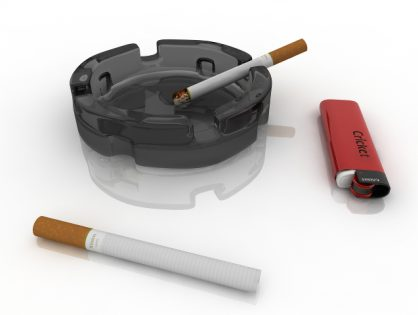 Cigarettes ashtray and lighter