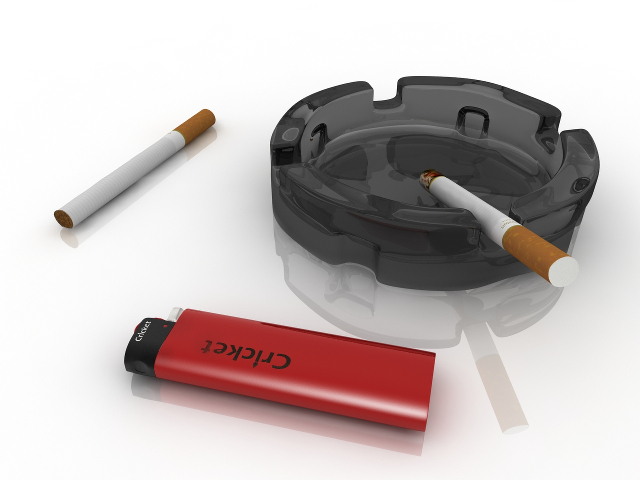 Cigarettes ashtray and lighter 3D model