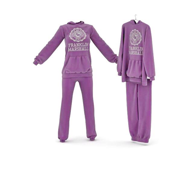 Purple sportswear sets 3D model