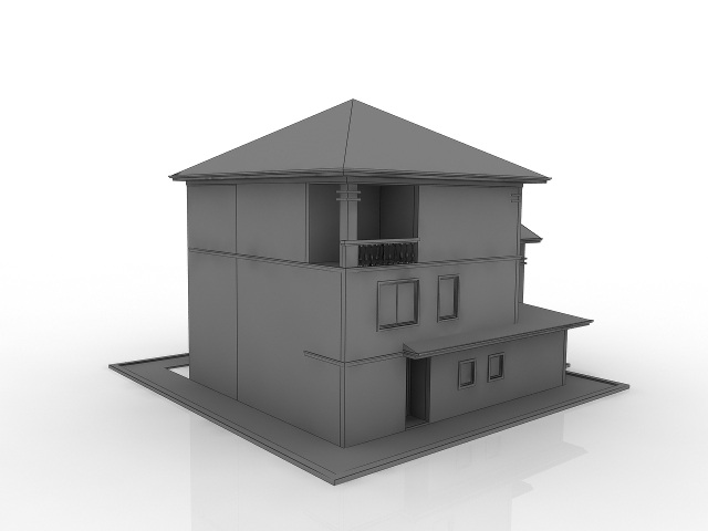 White Cottage 3D model