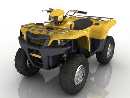 Yellow quad bike 3D model