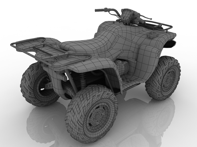 Yellow quad bike 3D model
